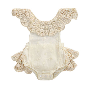 0-18M Baby Princess Jumpsuit Off Shoulder Lace Sleeveless Ruffles Summer Backless Cute Romper Newborn Girl Outfit lace insert backless cold shoulder romper