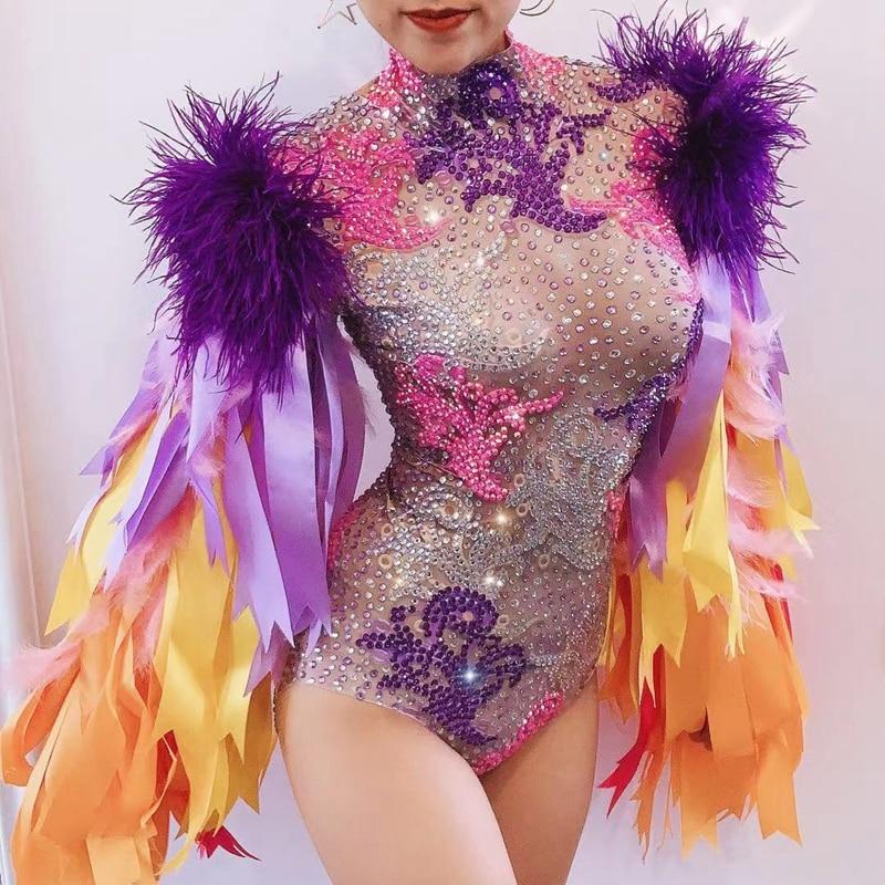 Fashion Stage Wear Ribbon Strip Feather Sleeve Rhinestone Bodysuit Women Nightclub Bar Party Outfit Performance Dance Costume