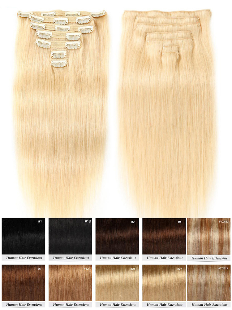 Human-Hair-Extensions Clip-Ins Remy-Hair Straight Peruvian -613 Color Ship-Free Full-Head-Sets