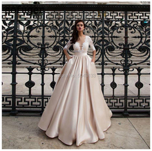 متواضع ساتان فساتين الزفاف مع جيب Vestido de Noiva الدانتيل نصف كم فستان زفاف 2020 طول الأرض الشمبانيا العروس فساتين