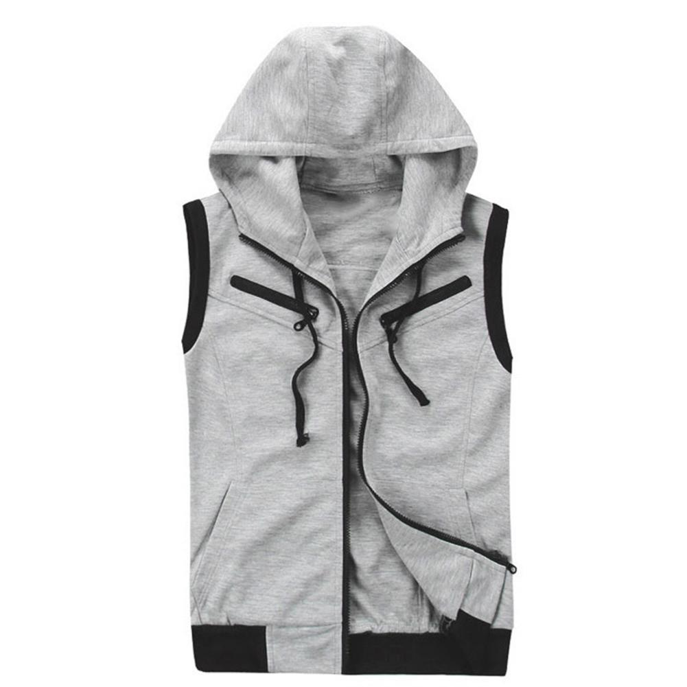 New Men's Monochromatic Hooded Vest Zipper Pocket Sleeveless Vest Jacket Casual Sleeveless Sport Vest Winter Clothes Fashion Ves