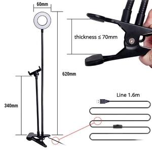 Image 3 - אוניברסלי Selfie טבעת אור עם גמיש נייד טלפון מחזיק סוגר עצלן שולחן מנורת LED אור עבור לחיות זרם משרד מטבח