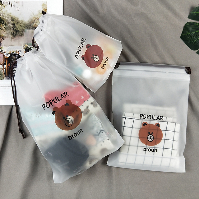 cartoon Bear Drawstring Bag Transparent travel organizer Shoes Storage Bag Clothes Packing travel accessories 3