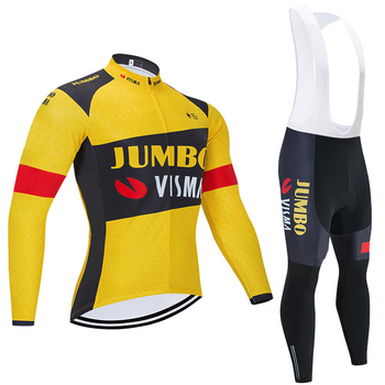 JUMBO VISMA-Ropa de Ciclismo para hombre, Maillot térmico y polar, 2020