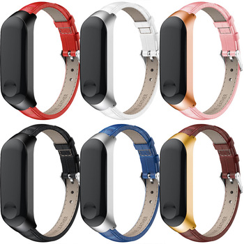 Leather Strap bracelet for Xiaomi mi band 3 4 strap Stainless Steel Frame MiBand Smart Wristband Xiao