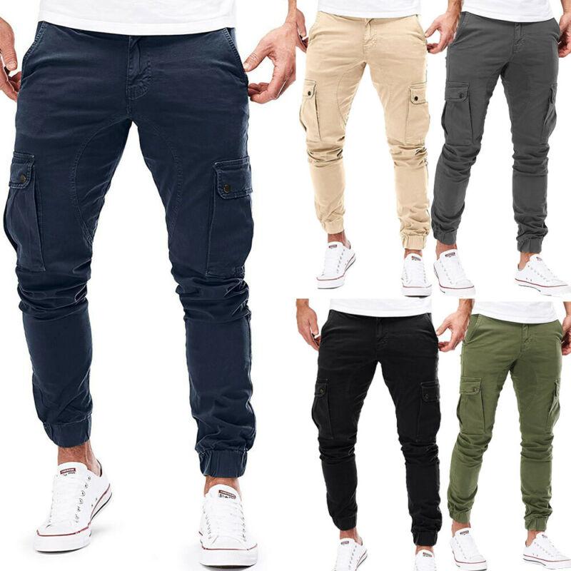 Modis Autumn Men Cargo Pants Army Multi-pocket Trousers Cotton Casual Harem Solid Joggers Skinny Men's Cargo Pants Plus Size