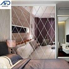 3D Mirror Wall Stickers Diamonds Shape Wall Mirror Sticker DIY TV Background Wall Decorative Stickers Home Decoration