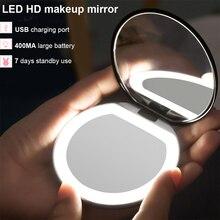 Mini miroir de maquillage lumineux Led pour la saint-valentin, Portable et rond, avec capteur, rechargeable par Usb