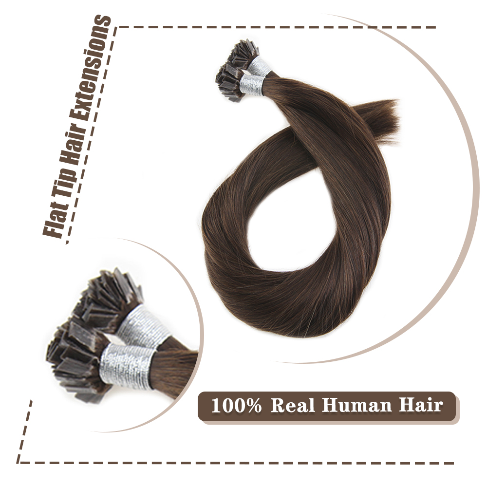 Moresoo Straight Keratin Fusion Flat Tip Human Hair Extensions Machine Made Remy 1.0g/s 50g/pack
