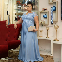 Sky Blue Lace Chiffon Long Mother of the Bride Dress Plus Size Short Sleeve Formal Occasion Evening Gowns Morther of Groom