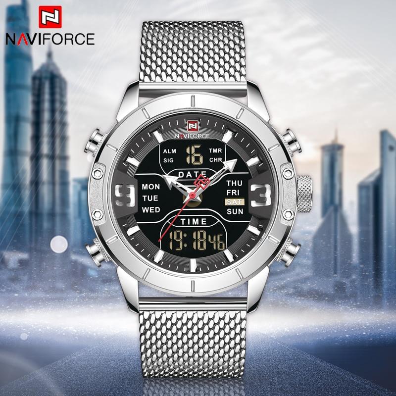 NAVIFORCE Men Watches Top Luxury Brand Men Analog Digital Dual Display Quartz Watch Military Sport Wrist Watch LED Display