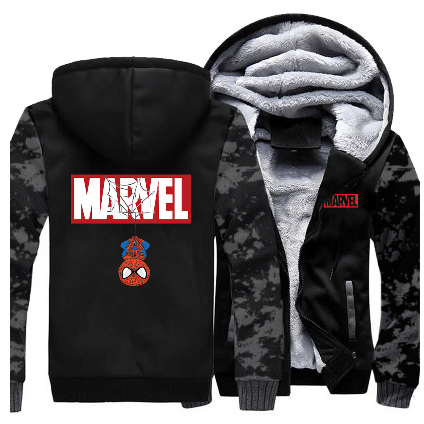 MARVEL Spiderman Print Hoodies Men Thick Warm Hoodie Sweatshirt Casual Brand Male Streetwear Winter Jacket The Avengers Coat