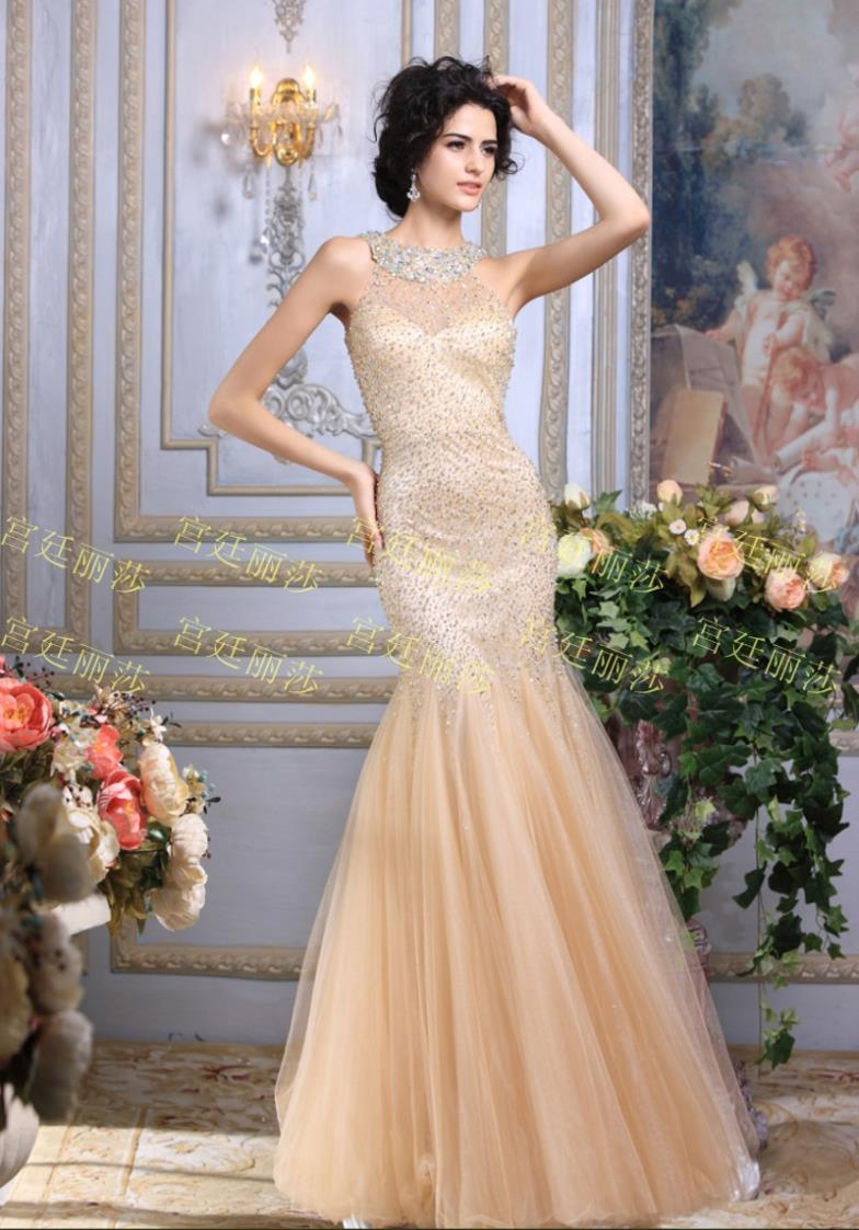Free Shipping 2016 Vestidos Luxury Crystal Formal Brides Sexy Married Beaded Gold Sequin Dress Evening Gown Party Prom Dresses