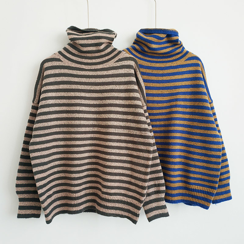 Female Sole Striped Sweater Thick Neck High Sleeve Long Sleeve Winter Sweater Harajuku Striped Sweater