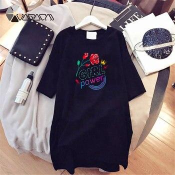Women Dresses NEVER Series Letter Plus Size Black Mini Dress Loose Summer Long T Shirt Casual Clothes Femme Tops White Sukienka 175
