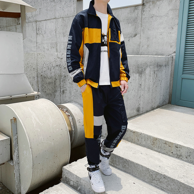 Spring And Autumn Sports Jacket Set Men Casual Team Polyester Tracksuits Pantalon Chandal Hombre Mens Two Piece Fashion HH50TZ