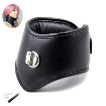 Erotic Black Soft Sponge Padded Inside Leather Chastity Posture Neck Collar For Bdsm Choker Bondage Couples Harness Sex Products