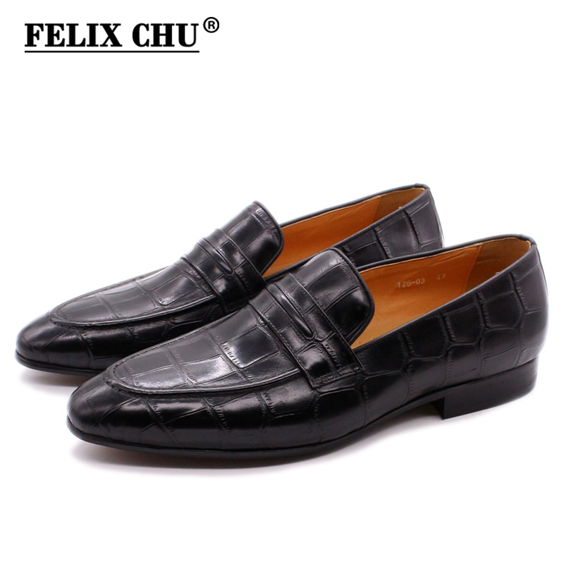 FELIX CHU Men's Penny Loafers Crocodile Print Genuine Leather Wedding Party Casual Men Dress Shoes Black Red Fashion Male Flats