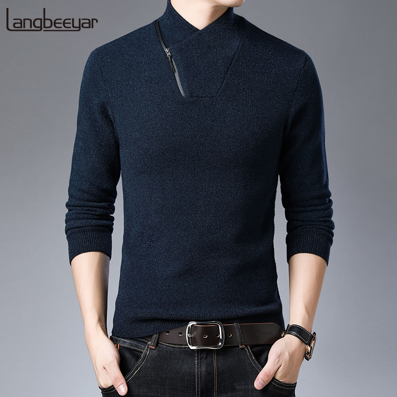 2019 New Fashion Brand Sweater For Mens Pullovers Slim Fit Jumpers Knitwear Half Zip Pullover Korean Style Casual Mens Clothes