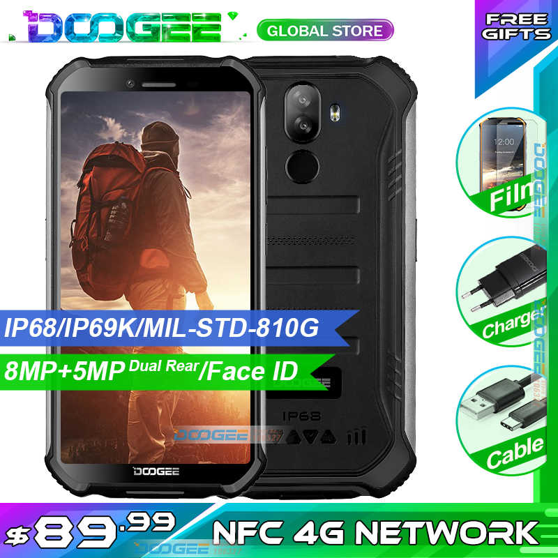 "Atualizar 3 gb + 32 gb doogee s40 5.5 ""hd 4g rede telefone móvel ip68 impermeável 4650 mah 8mp mt6739 android 9.0 torta smartphone"