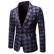 Men Suit Jacket Mens Plaid Blazers Slim fit Grid designs Casual Coat Fashion Red Blue