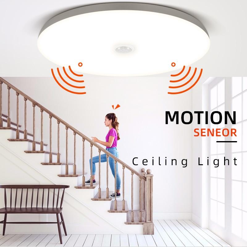 Plafond moderne à LEDs lumières PIR capteur de mouvement plafonniers 12/18W appareils déclairage de nuit pour entrée balcon couloir LED lampara