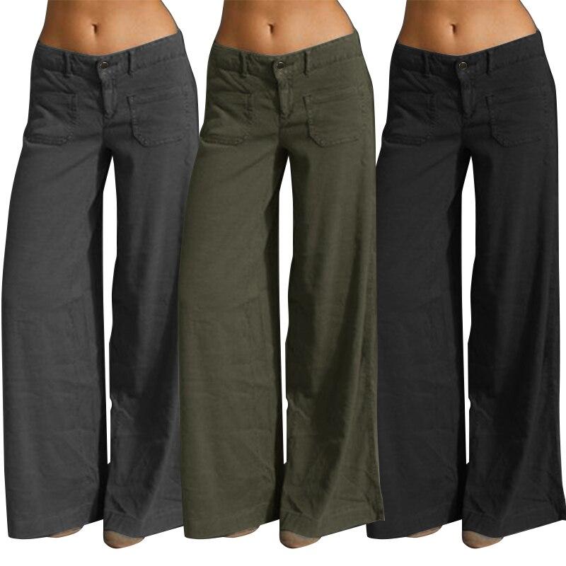 Elegant Wide Leg Pants Women's Summer Trousers 2020 ZANZEA Vintage Button Front Zip Turnip Causal Turnip Plus Size Pantalon