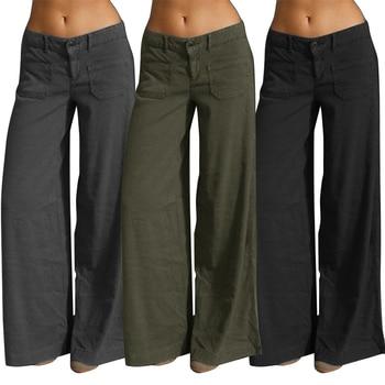 цена на Elegant Wide Leg Pants Women's Summer Trousers 2020 ZANZEA Vintage Button Front Zip Turnip Causal Turnip Plus Size Pantalon