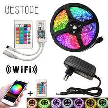 5050 tira de LED WIFI RGB RGBW RGBWW 5M 10M 15M de Color RGB Led cambiante tira de LED Flexible luz + control remoto WIFI + potencia(China)
