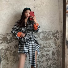 Vintage Women Suit Korean Jackets Women Clothing Fall 2019 Wild Ladies Plaid Casual Jackets blazer women korean casual wild popular plaid small suit ladies jacket 2019 summer new women s clothing