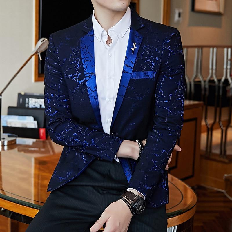 Teen Men Suit Jacket Long Sleeve Slim Design Mens Blazer Coat Autumn New Overcoat