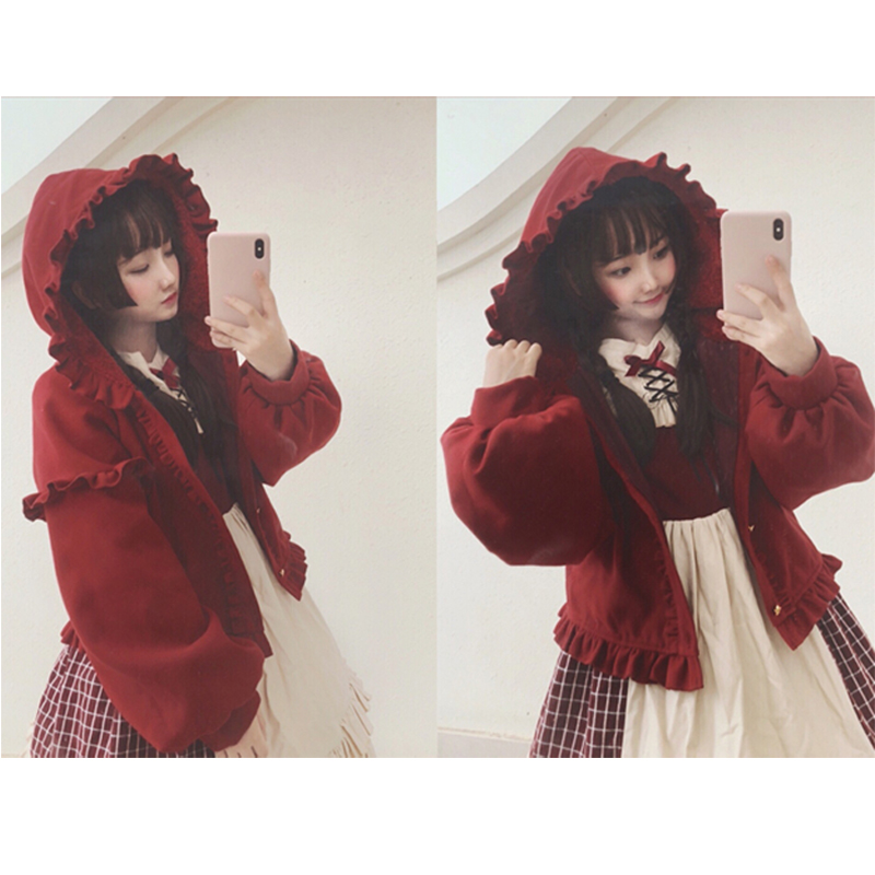 3 Colors Ladies Autumn Winter Lolita Coat for Women Sweet Girls Hooded Cape Plus Velvet Thicken Lolita Outwear Lantern sleeve