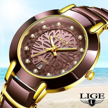 2020 LIGE Women Watches Top Brand Luxury Ladies Quartz Clocks Waterproof Wristwatch Fashion Watch Men Ceramic Lovers