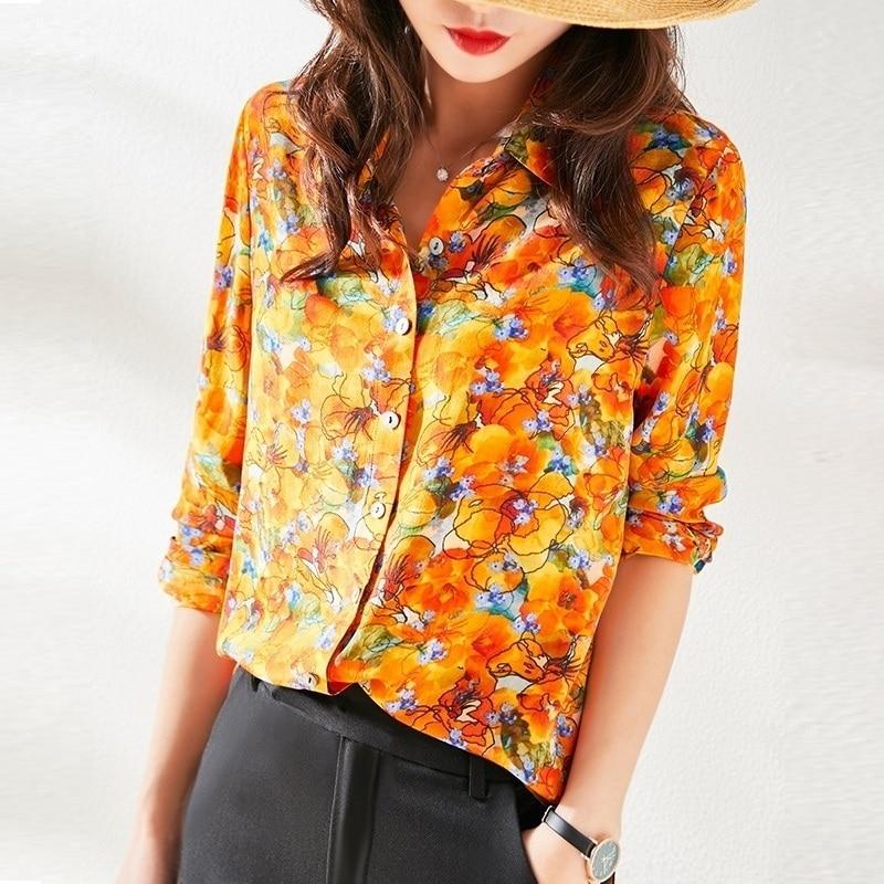 Women Shirt 100% Real Silk shirt Long Sleeve Mulberry silk Turn down Collar Blouse 2020 New Style Orange Floral Printed Blouses & Shirts  - AliExpress