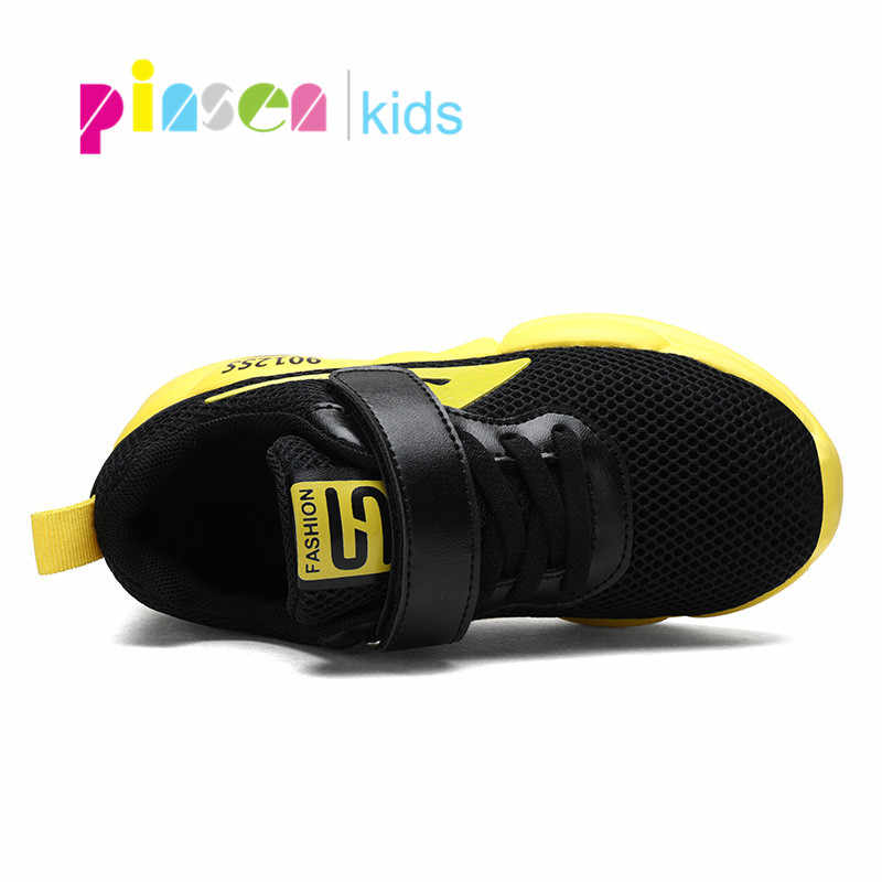 PINSEN เด็กรองเท้าลำลองเด็กรองเท้าผ้าใบสำหรับชายหนังแฟชั่นรองเท้าผ้าใบเด็ก 2019 ฤดูใบไม้ผลิฤดูใบไม้ร่วงเด็กรองเท้า