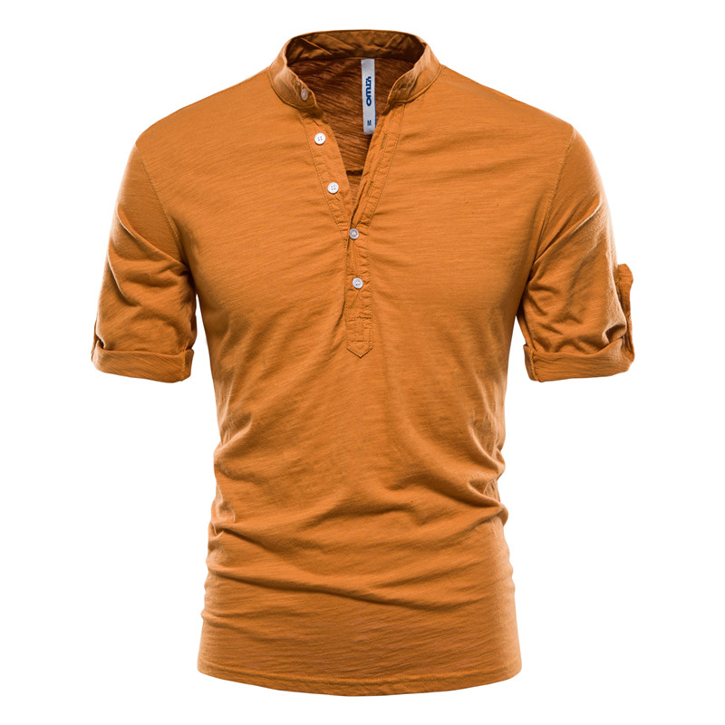 AIOPESON 2021 Stand Collar T-Shirt Men Solid Color 100% Cotton Middle Sleeve Men's T Shirts Summer Quality Casual Tee Shirt Male
