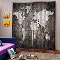 Map picture curtain Digital print for Living room bedroom blackout Curtains Decor Drapes (left and right Side)