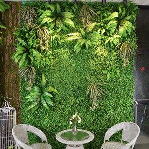 Image 1 - 2m x 1m sztuczna roślina ściana ściana kwiatów panele zielony plastikowy trawnik tropikalne liście DIY akcesoria do dekoracji ślubnych