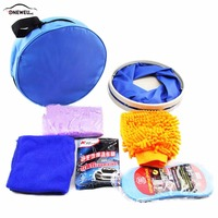 Car Washing Tools Microfiber Car Cleaning Kit Folding Buckets Gloves Compressed Sponges Car Wash Powder for Car