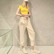 New Trousers High Waist Jogging Pants for Women 2019 Sashes Elastic Full Length Fashion Pockets