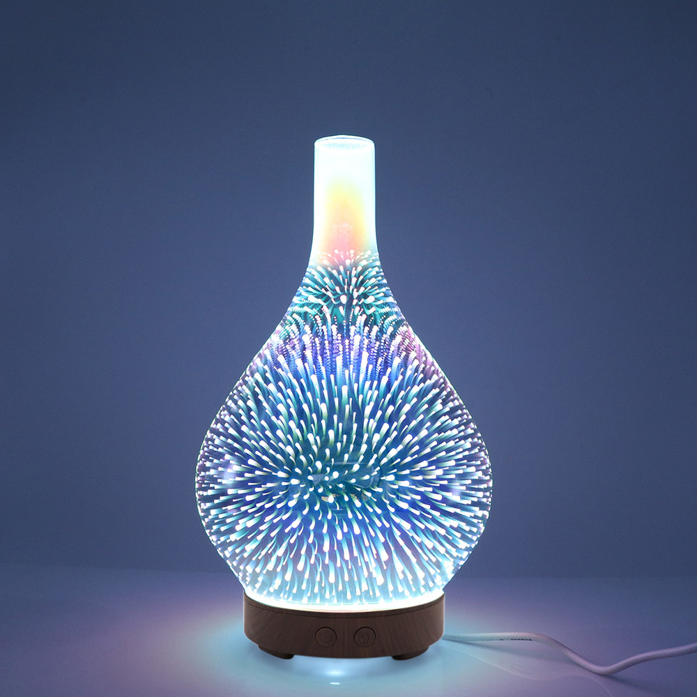 3D Glass Ultrasound Aroma Diffuser Essential Oil Diffuser Aromatherapy Ultrasound Humidifier 7 Color-changing LEDs 100ml
