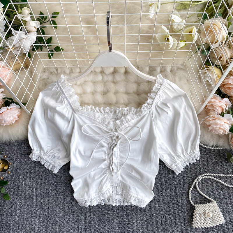 Women 2020 New Fashion Elegant Lace Side Square Collar Short Sleeve Lace-up Short Tops Blouse Shirts M412