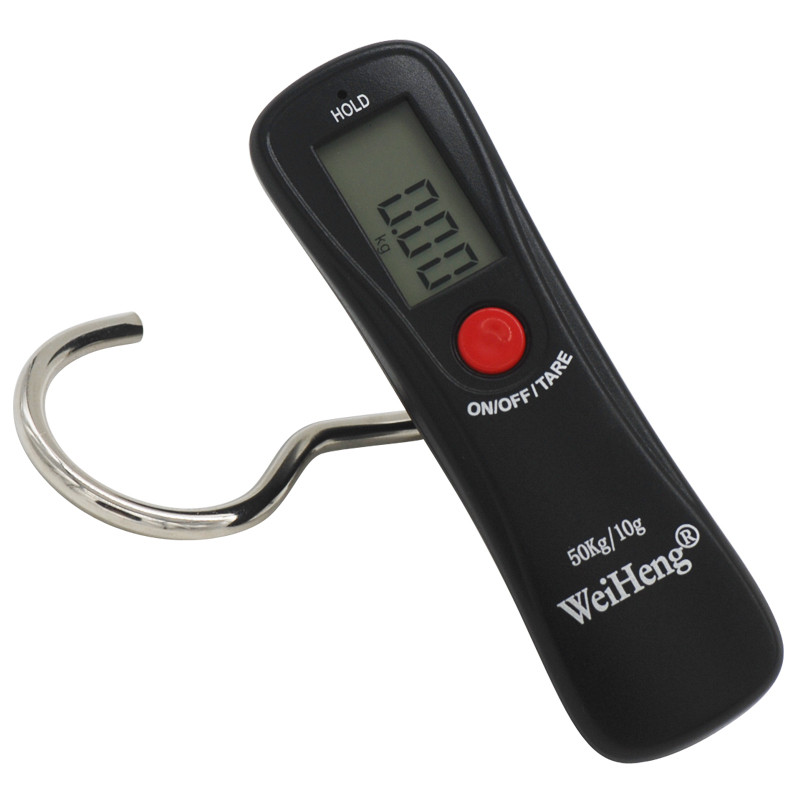 Mini Digital Hand Held 50Kg/10g Fish Hook Hanging Scale Electronic Weighing Luggage Scale Green Backlit LED Display Fishing Tool