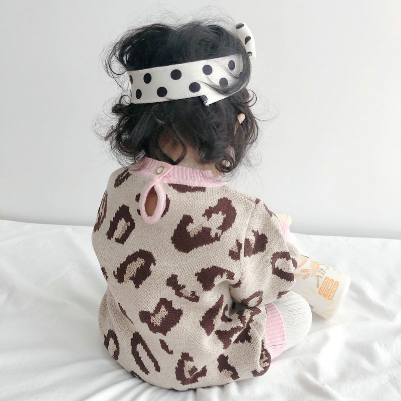 Baby Girl Bodysuit 100% Cotton Leopard Autumn Newborn Baby Clothing Girl Jumpsuit Knitted Baby Clothes Baby Girl Sweater 4