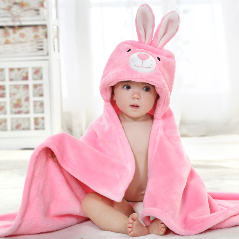 Toddler Baby Kids Girl Boy Cartoon Duck Soft Bath Towel Bathrobe Flannel Wrap US