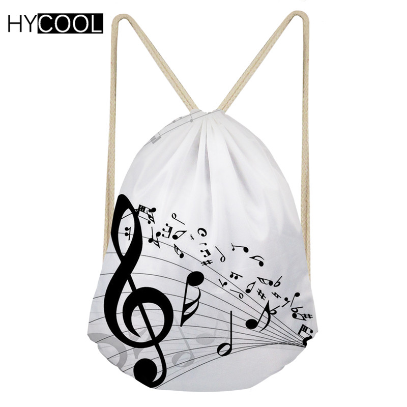 HYCOOL Small Drawstring Bag Sport Gym Sack For Children Boys Girls Music Note Printing Running Cycling Hiking Outdoor Sack 2019