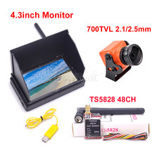 FPV 4.3inch 48CH LCD 480 x 22 Wireless Receiver Monitor built-in battery TS5828 600mW 700TVL PAL 2.1mm 2.5mm Camera For RC Drone(China)