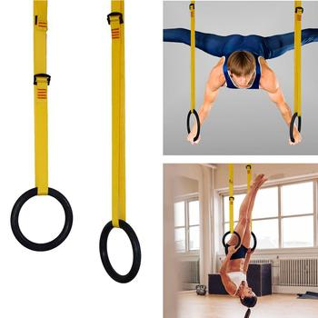 ABS Muscle Training Fitness Gymnastics Ring with Adjustable Buckle Straps 1 Pair for Protection Working