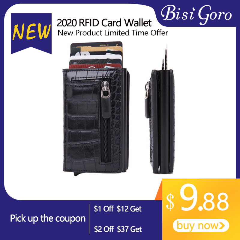 BISI GORO 2020 New Arrival PU Leather Smart Wallet Anti-theft RFID Blocking Card Case Aluminum Box Card Holder Men And Women