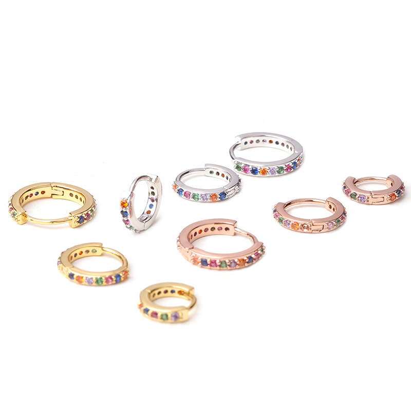 1pc 6mm/8mm/10mm Multicolor Cz Hoop Cartilage Earring Simple Helix Tragus Daith Conch Rook Snug Ear Piercing Jewelry